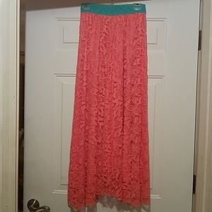 Lularoe salmon color lace Lucy skirt